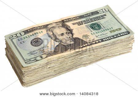 Stack of Twenty Dollar Bills.