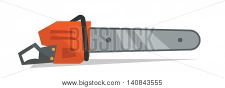 Chain saw vector flat design illustration isolated on white background.