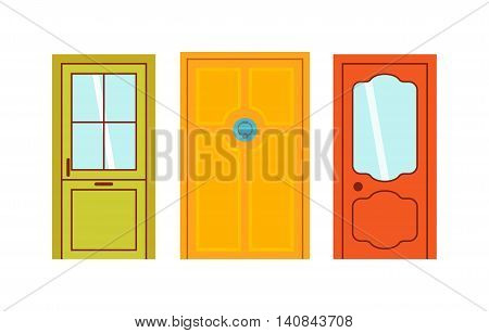 Set of color doors isolated on white. Colorful front doors to houses and buildings set in flat design style isolated. Vector illustration doors isolated modern new decoration open elegant room lock.