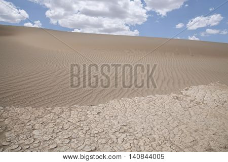 Wind swept sand creating ridges on a Death Valley sand dune in California.