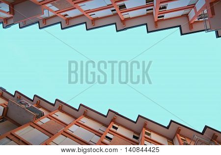 Houses With Terraces And The Roof In The Form Of Sawtooth
