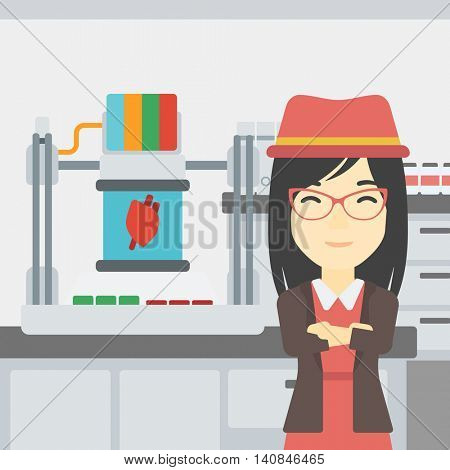 An asian young woman with 3D printer making a heart on the background of laboratory. Woman working with 3D printer. Vector flat design illustration. Square layout.