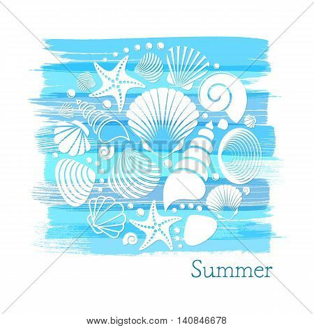 Blue vintage summer card with white sea shells