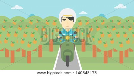 An asian young man riding a scooter on the asphalt road through the orchard. Young man in helmet driving a scooter. Vector flat design illustration. Horizontal  layout..