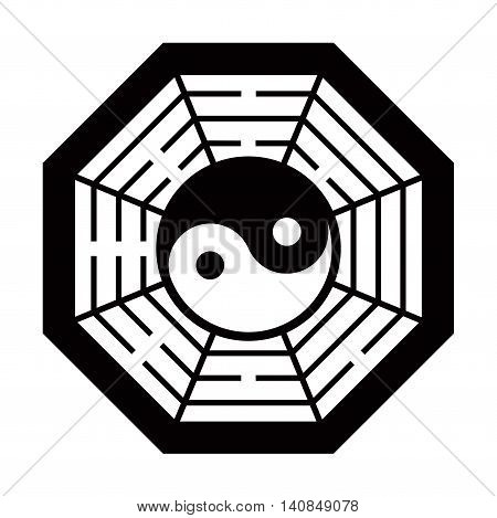 Yin Yang symbol and Map the eight symbol of Taoism. Black and White color.