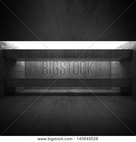 Abstract Empty 3D Concrete Interior With Girders