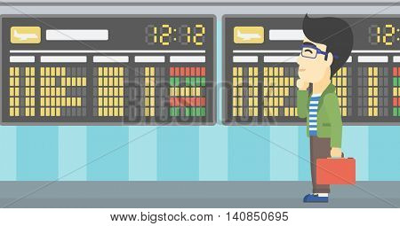 An asian young man with a briefcase looking at departure board at the airport. Passenger standing at the airport in front of departure board. Vector flat design illustration. Horizontal layout.