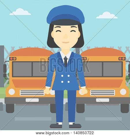 An asian young school bus driver standing in front of yellow bus. Vector flat design illustration. Square layout.