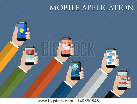 Business Mobile application concept. Hands holding phones with different application. vector illustration
