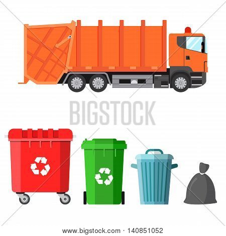 Garbage truck and four variants of dumpsters in a flat style. Waste management concept