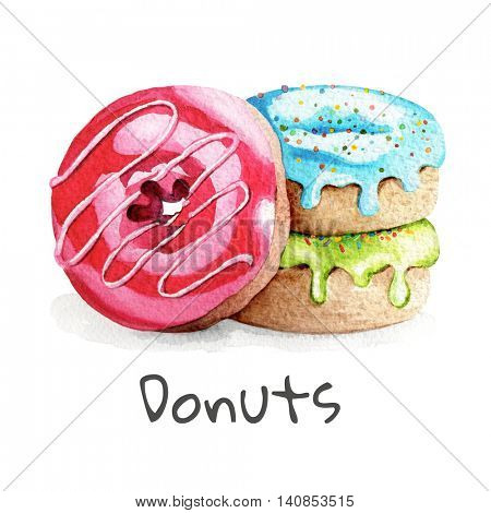 Watercolor illustrations of hand painted colorful donuts