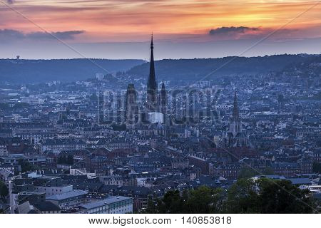 Panorama of Rouen at sunset. Rouen Normandy France