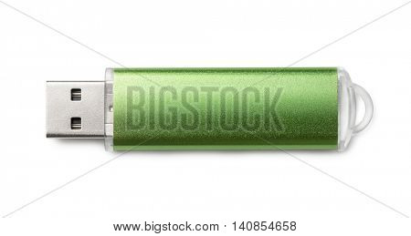 Top view of green USB flash drive isolated on white