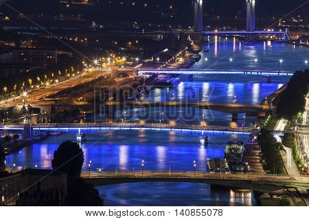 Bridges on Seine River in Rouen. Rouen Normandy France