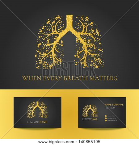 Medical business card template with lungs filled with air bubbles on black background. Gold vector lungs logo graphic design for pulmonary clinics and medical centers.