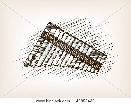 Pan flute sketch style vector illustration. Old engraving imitation.