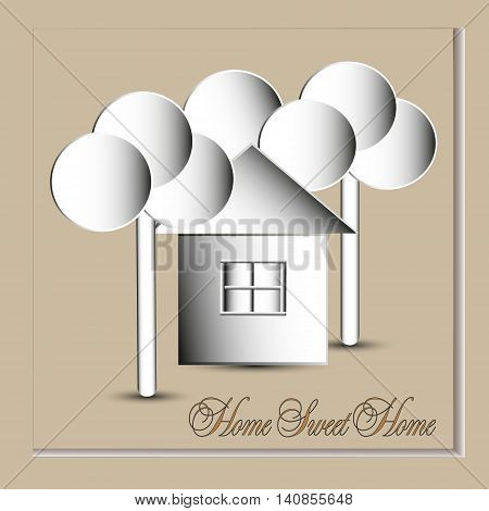 Home sweet home vector illustration Image home sweet home in the style of the paper circle below the trees and a bldg with window