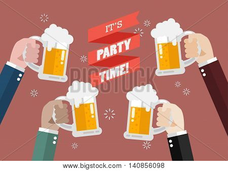 Party Time. People clinking beer glasses. Vector Illustration