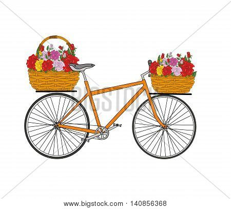 basket of flowers roses on a bicycle. vector illustration