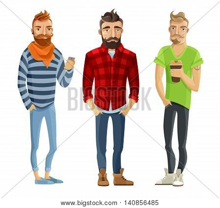Hipster cartoon male people wearing trendy clothes and haircuts isolated on white background vector illustration