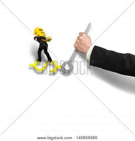 Man Carrying Gold Euro Dollar Sign Balancing On Money Clock Hand