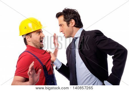 Class struggle between manager and worker on white background