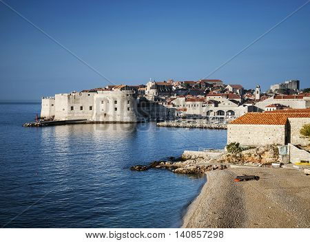 dubrovnik old town view and adriatic coast in croatia balkans poster
