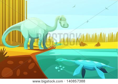 Dinosaurus and prehistoric turtle vintage image from animated cartoon animals for kids to learn abstract vector illustration