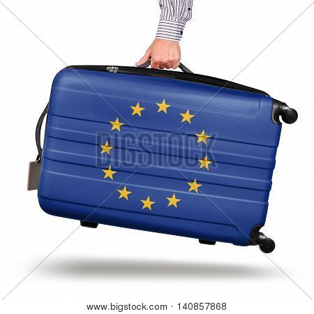 Hand holding modern suitcase European Union flag design isolated on white Brexit concept