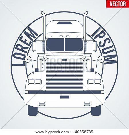 Truck logo symbol for delivery and cargo company. Monochrome design. Vector Illustration isolated on background.