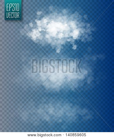 Set of vector isolated clouds. Transparent special effect. Vector illustration