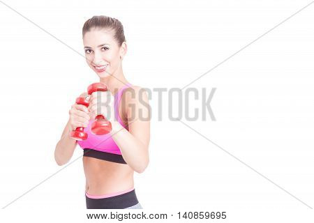 Pretty Girl At Gym Holding Pair Of Dumbbells