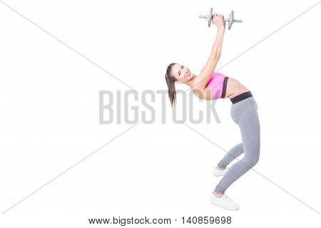 Girl At Gym Bending Back Holding Weight