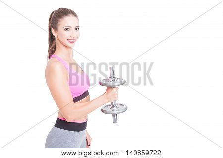 Side View Of Fit Girl Holding Dumbbell