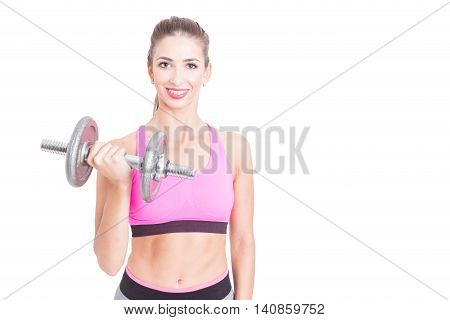 Fit Girl Posing Holding Heavy Weight At Gym