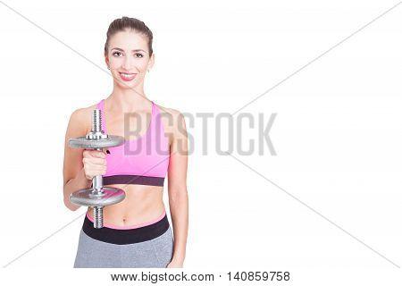 Female Holding Straight One Heavy Dumbbell