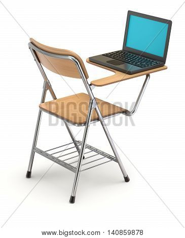 Wooden student chair with desk and notebook - 3D illustration