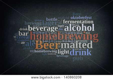 Blackboard with word cloud on homebrewing beer. 3D rendering.