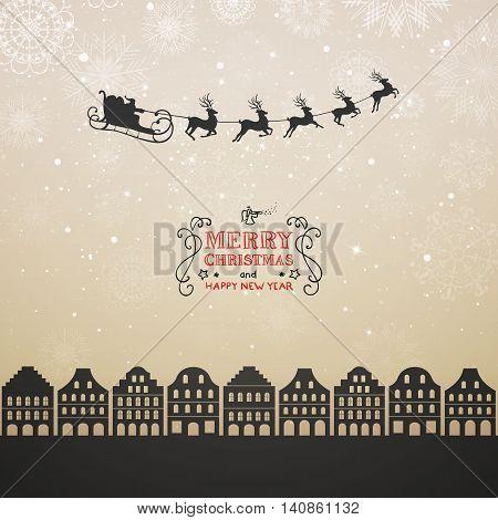 Vector Illustration of Santa Claus Flying over City. Christmas Design.