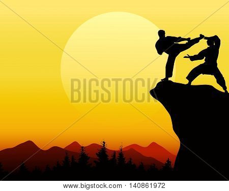 silhouette of selfdefense on cliff  with sunset background