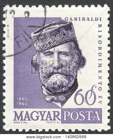 MOSCOW RUSSIA - CIRCA APRIL 2016: a post stamp printed in HUNGARY shows a portrait of Giuseppe Garibaldi circa 1960