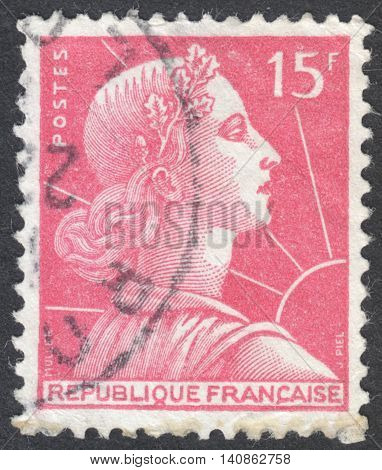 MOSCOW RUSSIA - CIRCA APRIL 2016: a post stamp printed in FRANCE shows Marianne the national emblem of France circa 1955