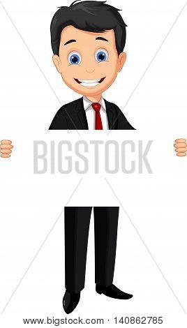 cute business cartoon holding a blank sign
