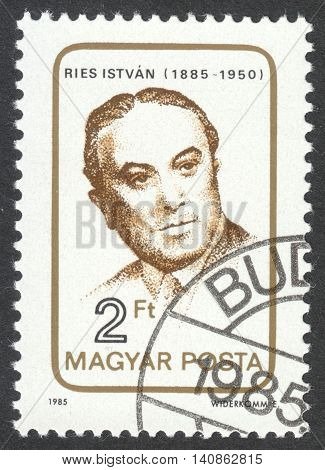 MOSCOW RUSSIA - CIRCA APRIL 2016: a post stamp printed in HUNGARY dedicated to the 100th Anniversary of the Birth of Istvan Ries circa 1985