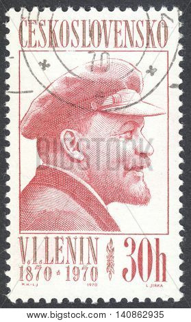 """MOSCOW RUSSIA - CIRCA APRIL 2016: a post stamp printed in CZECHOSLOVAKIA shows a portrait of Lenin the series """"The 100th Anniversary of the Birth of Lenin"""" circa 1970"""