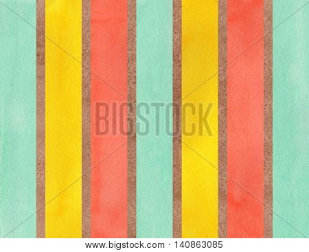 Watercolor Brown, Salmon, Yellow And Seafoam Striped Background.
