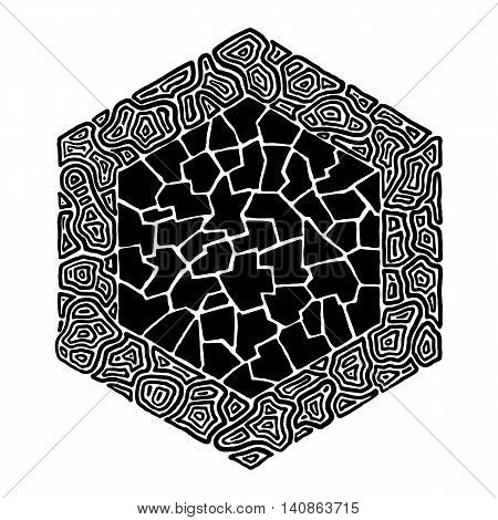 Hand drawn abstract pattern fitted into hexagonal shape. #1