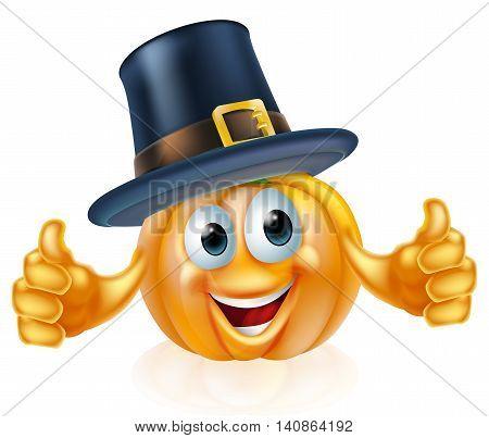 Thanksgiving Pilgrim Hat Pumpkin Man