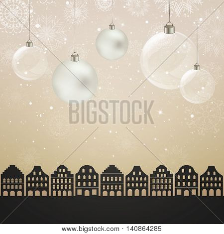 Vector Illustration of a Christmas City Background with Baubles