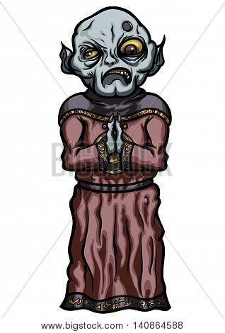 Illustration evil master's servant dressed in cultist robe